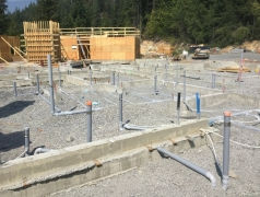 Aug 16 -Concrete footings and up stand walls stripped