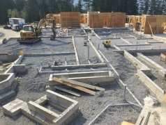 Aug 21 - Slab on grade prep GL 2-5, plumbing underground RI inspection tomorrow