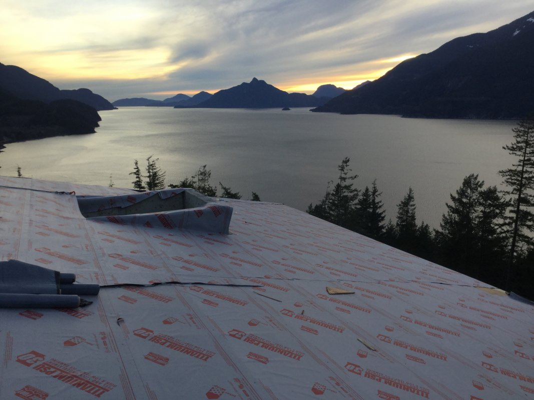 A beautiful view of the sunset over Howe Sound from the rooftop.
