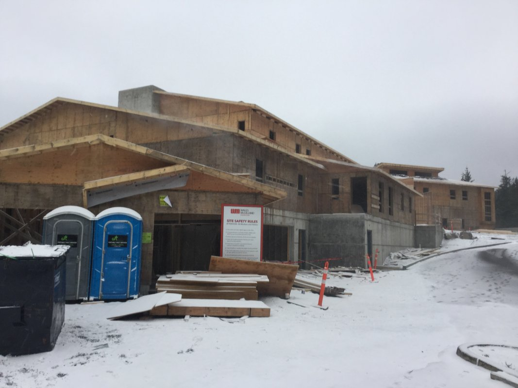 As you get closer you see the staff area...and the snow. The bad weather and severe winds have delayed the project.