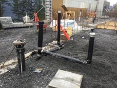 Jan 31 - Water stub up, floor drain, drain for sprinkler pipe blowout