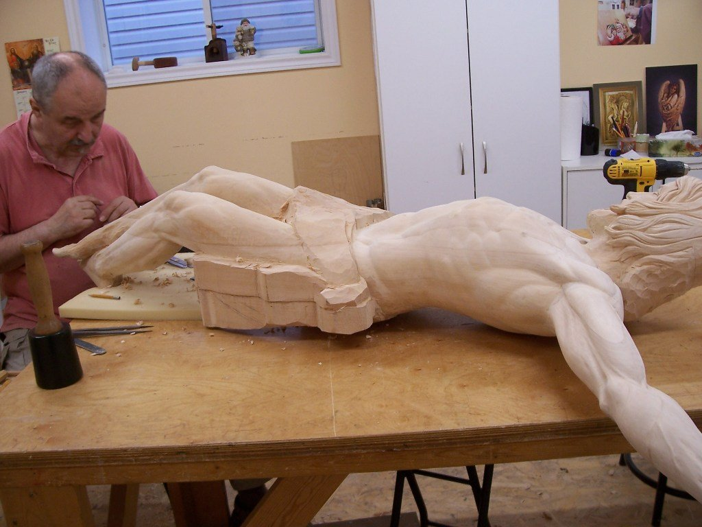 Frederic working in his studio