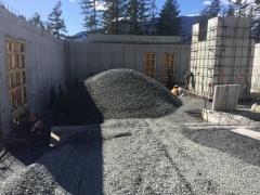 Mar 15 - Material brought in for upper basement slab prep